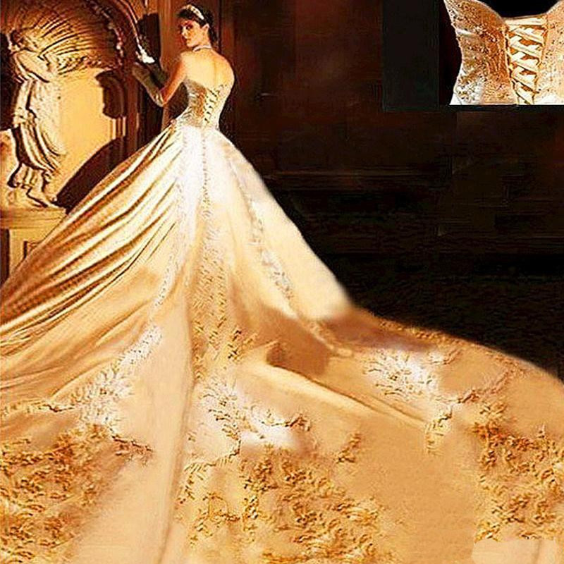 Luxury Ball Gown Satin With Embroidery Wedding 2017 Fashion Lace Up Cathedral Train Vestidos De Novia