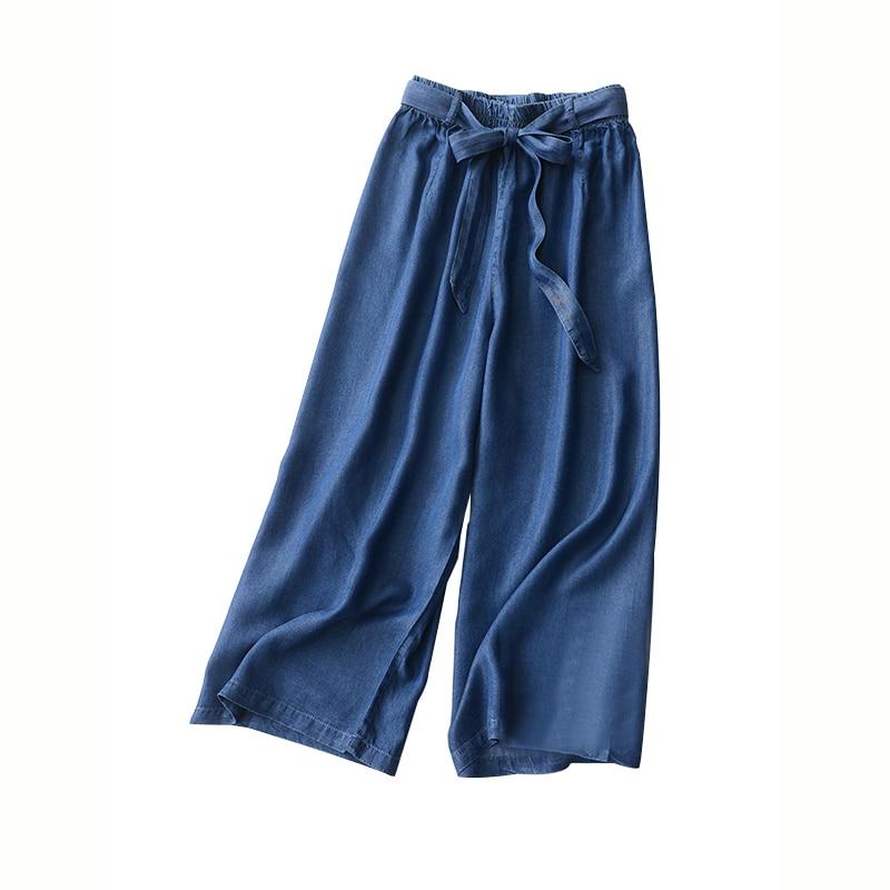 MOBTRS   Wide     Leg     Pants   Women Bow Decoration Loose Trousers Women High Waist Denim Jeans Female