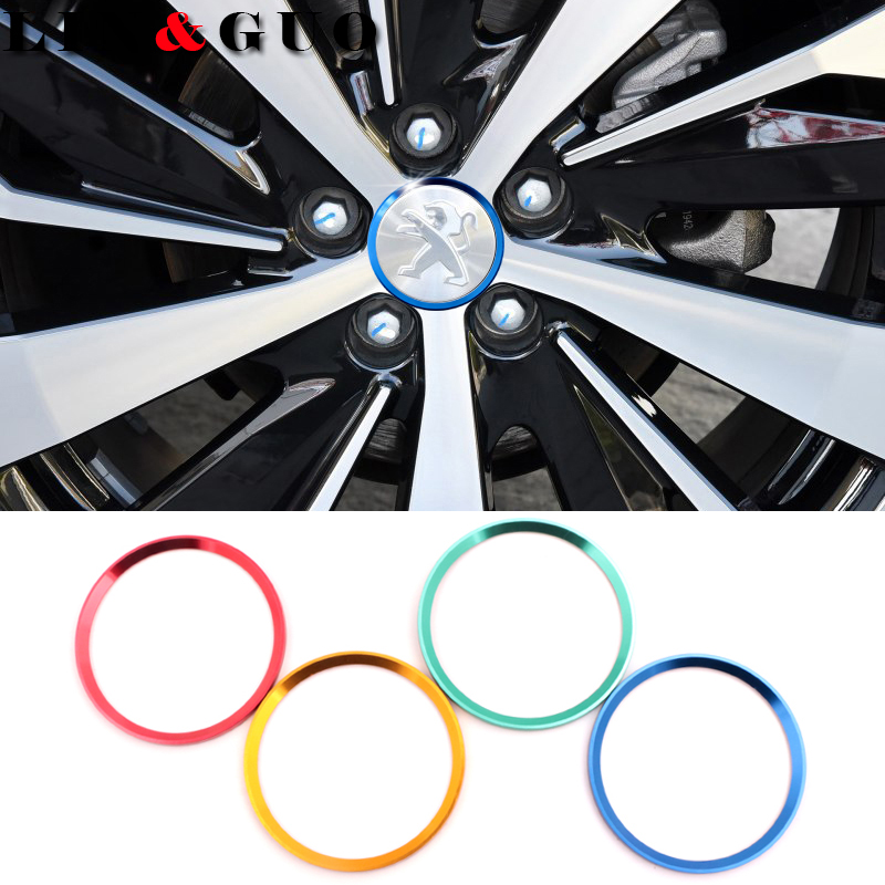 4 pcs/lot New Refitting accessories Car <font><b>Wheel</b></font> center decorative circle fit for <font><b>Peugeot</b></font> 307 <font><b>peugeot</b></font> 206 308 207 <font><b>406</b></font> 407 408 image