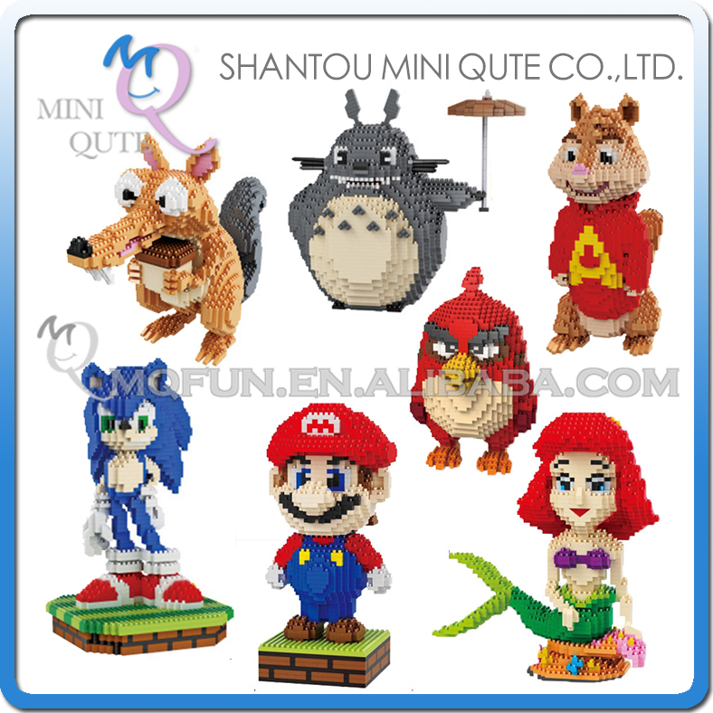 Mini Qute BALODY huge cartoon game anime red bird super mario mermaid building blocks brick action figures model educational toy mini qute full set 2 pcs lot hc zootopia huge nick wilde judy hopps plastic building block cartoon model educational toy no 9011