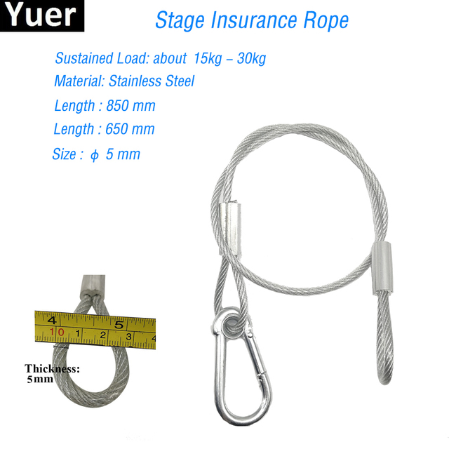 High Quality 65-85cm Long Stage Light Safety Rope Cable Safe Wire For Stage Light Disco Dj Steel Stainless Insurance Steel Wire