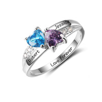 Personalized Engrave Birthstone Jewelry 925 Sterling Silver Double Heart Stone Name Ring Best Christmas Gift