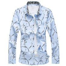 Cigna Mens Long Sleeve Shirts Fashion Casual Flower Shirt Men Colors Sky Blue White Navy Blue Large Size 7XL Man Tops(China)