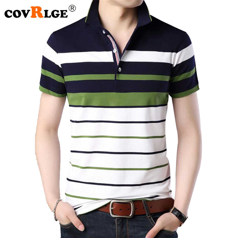 d4f9fe9248c Covrlge Для мужчин рубашки поло 2018 Новая мода Для мужчин футболка летние  полосатые мужской брендовая одежда