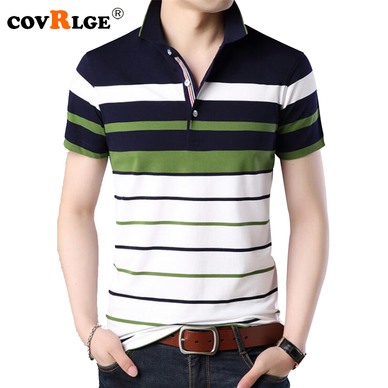 Covrlge Mens   Polo   Shirts 2018 New Fashion Men Tee Shirt Summer Striped Male Brand Clothing Short Sleeve   Polos   Casual Tops MTP075