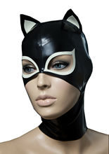 цена на Latex mask Sexy Black Latex Hood Rubber Mask with Small Ear Gummi 0.4mm for Catsuit Wear