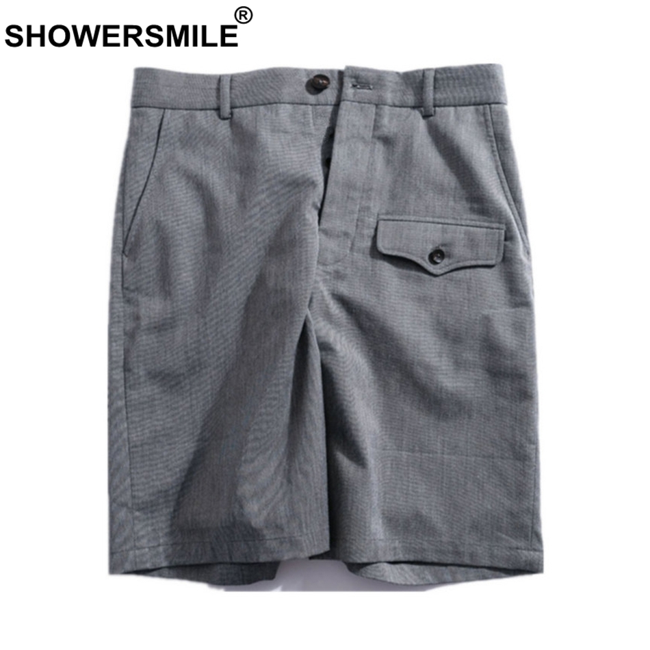 SHOWERSMILE Casual Shorts Men Bermuda Short Trousers Gray Summer Cotton Big Size Straight Shorts With Multi Pockets Man Clothing