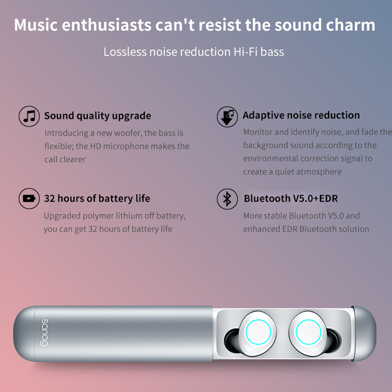 Portable Wireless Earphone With Charging Box TWS Bluetooth 5 0 Headphone Mini Music Earbuds Headset For iphone xiaomi huawei J2 in Bluetooth Earphones Headphones from Consumer Electronics