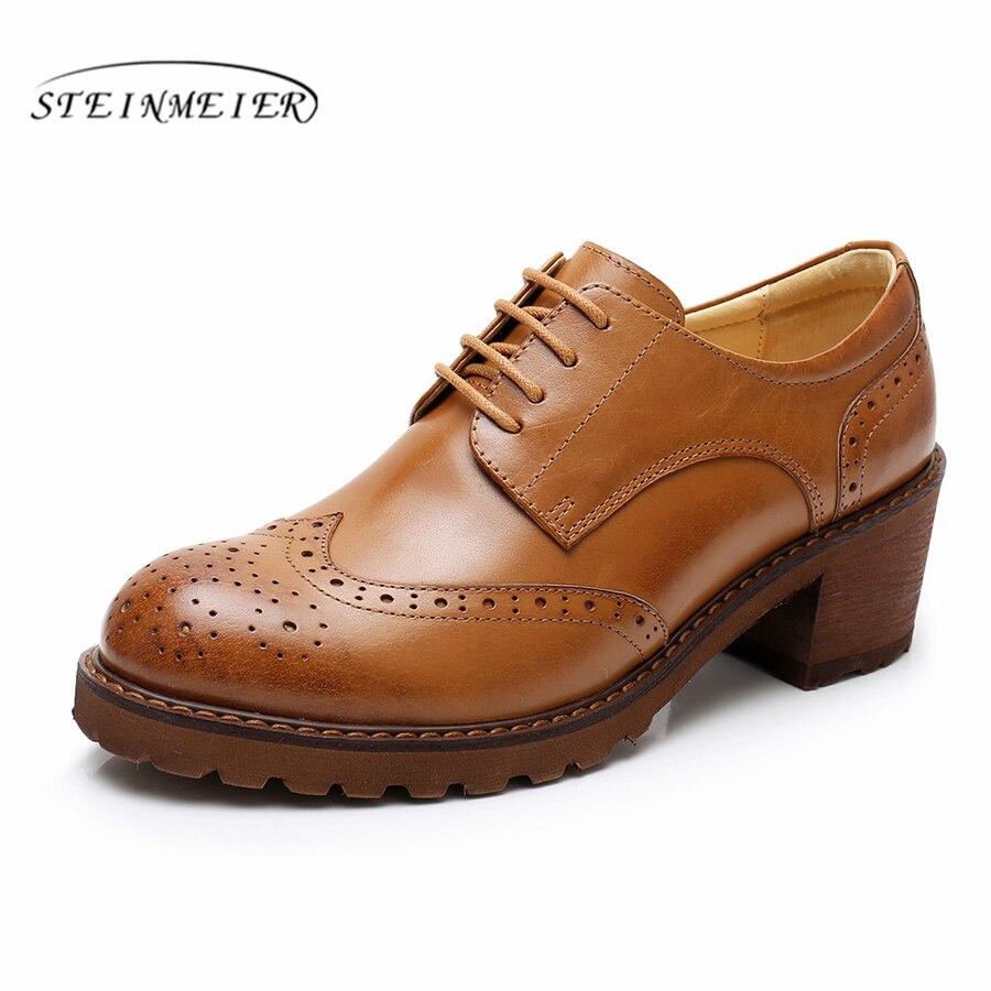 Yinzo kobiety oxford pompy buty w stylu vintage prawdziwej skóry pumpy damskie oxford obcasy buty dla kobiet czarny brązowy buty 2019 wiosna w Buty damskie na słupku od Buty na  Grupa 1