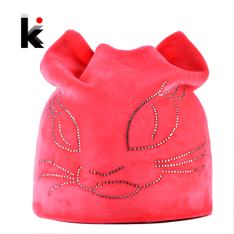 Winter Beanie Hats For Women Diamond Cat Velvet Gorros For Girls Warm Fluff Beanies Cap With Ears Toucas Feminina Inverno