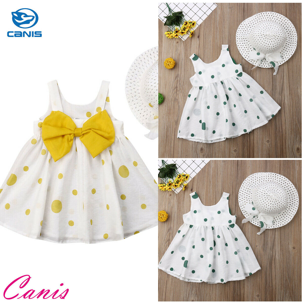 Newborn Dot Print Dresses Set baby clothes Princess new summer baby girls clothes With Hat Tutu Dress baby suit 1st birthday