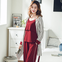 Pregnant Women nursing pajamas Maternity cotton home clothes 3Sets Full sleeve Breastfeeding sleepwear Postpartum clothings