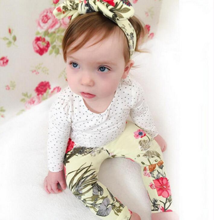 2017 baby floral headwear dots long sleeve cotton tee floral pants clothes sets infant princess outfits 0-24months bebe clothing