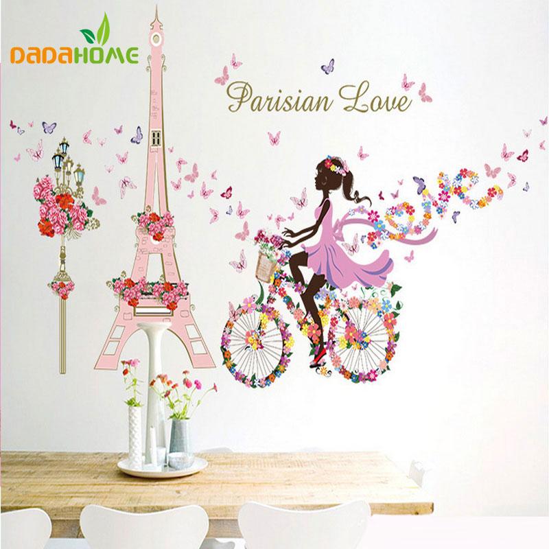 Vinilo mural flor de hadas chica ciclismo hierro torre pegatinas salón dormitori