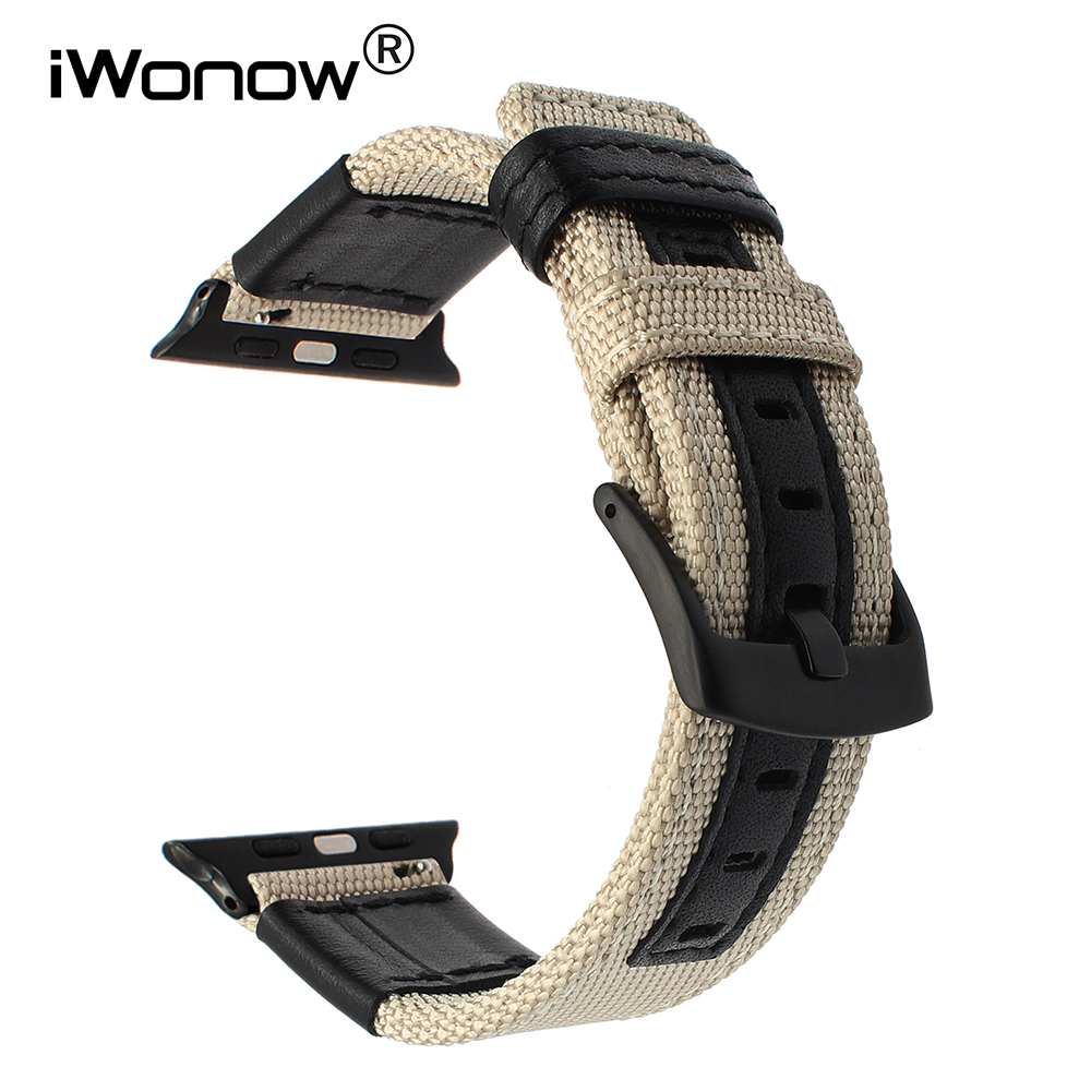 Canvas Nylon + Genuine Leather Watchband for iWatch Apple Watch 38mm 42mm Series 3 2 1 Band Accessory Strap Steel Clasp Bracelet canvas nylon watchband tool for garmin fenix 5 forerunner 935 fr935 leather watch band sports strap steel buckle bracelet
