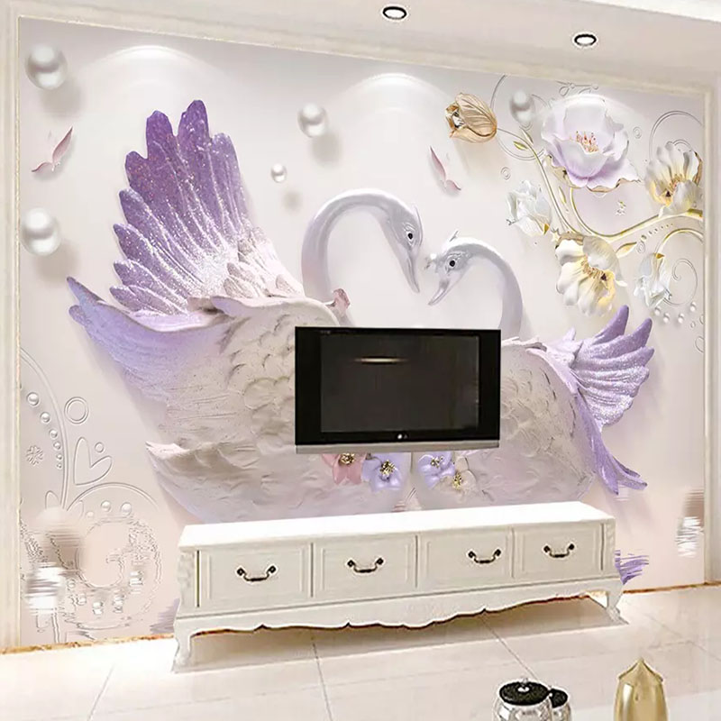 Custom Mural Wall Cloth Embossed Swan Jewelry European Wallpaper For Living Room TV Sofa Wall Home Decoration Papel De Parede 3D