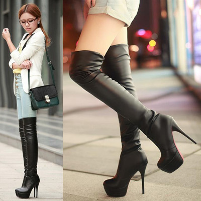 Online Shop Women Leather Boots Sexy Red Bottom Platform Thigh ...