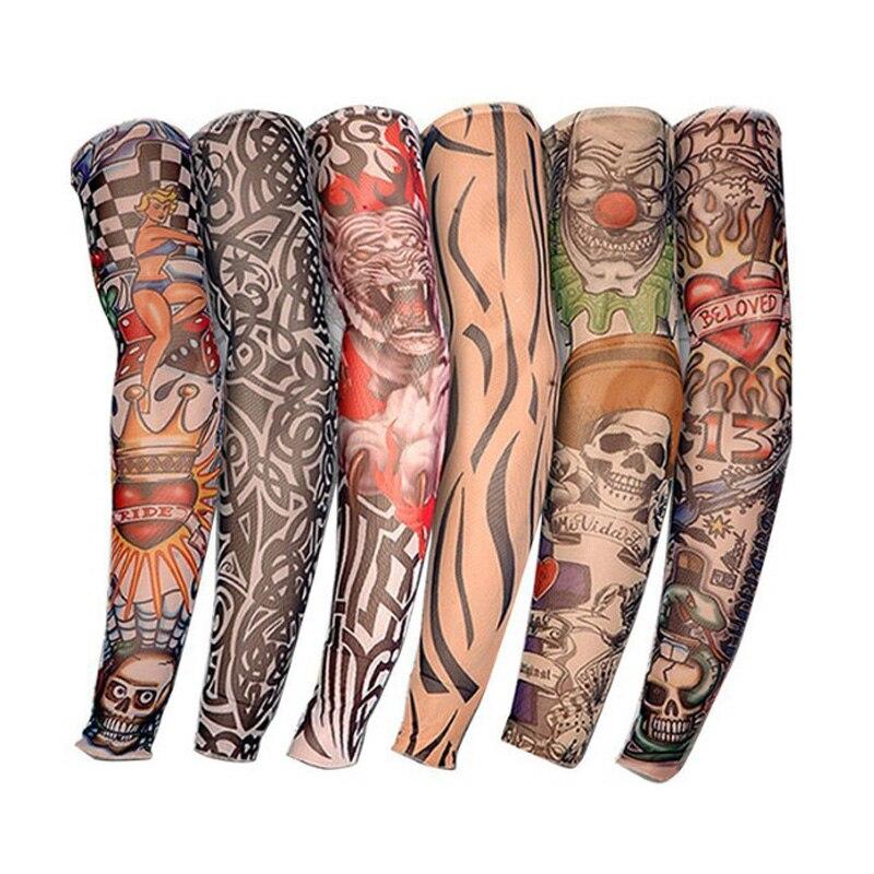 Tattoo Sleeves UV Cool Polyester Fiber Arm Sleeves Cycling Running Arm Warmer Sport Elastic Oversleeve Arm Warmers ST0001