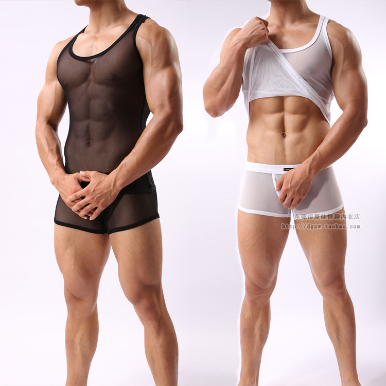 Sex Costumes Mens High Elastic Gauze Vest Lingerie Breathable Mesh Underwear Set Sexy Transparent Sleepwear Male Pajamas Suit