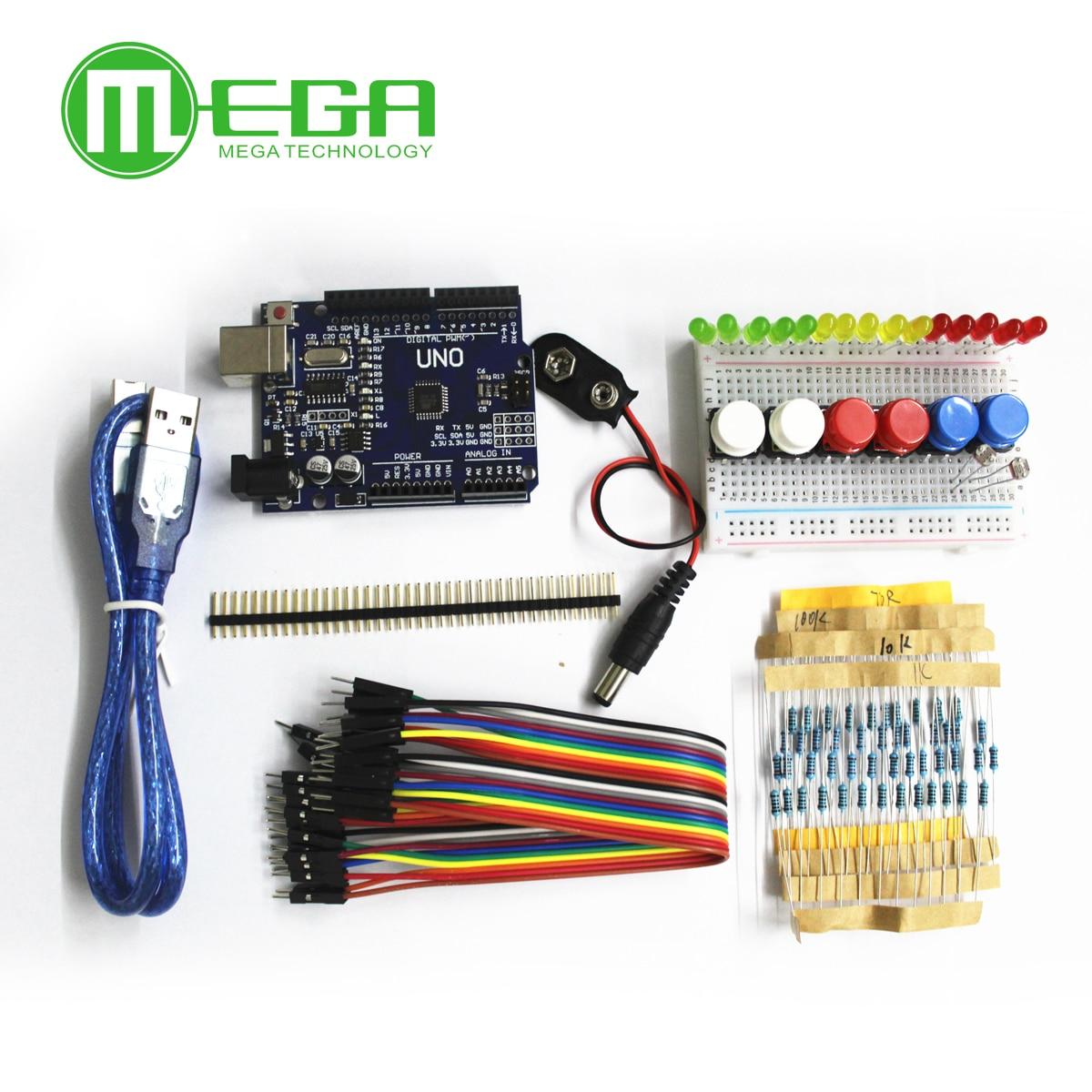 1 Unidades nuevo Kit de arranque UNO R3 mini Placa de LED de alambre de puente botón para Arduino compatile