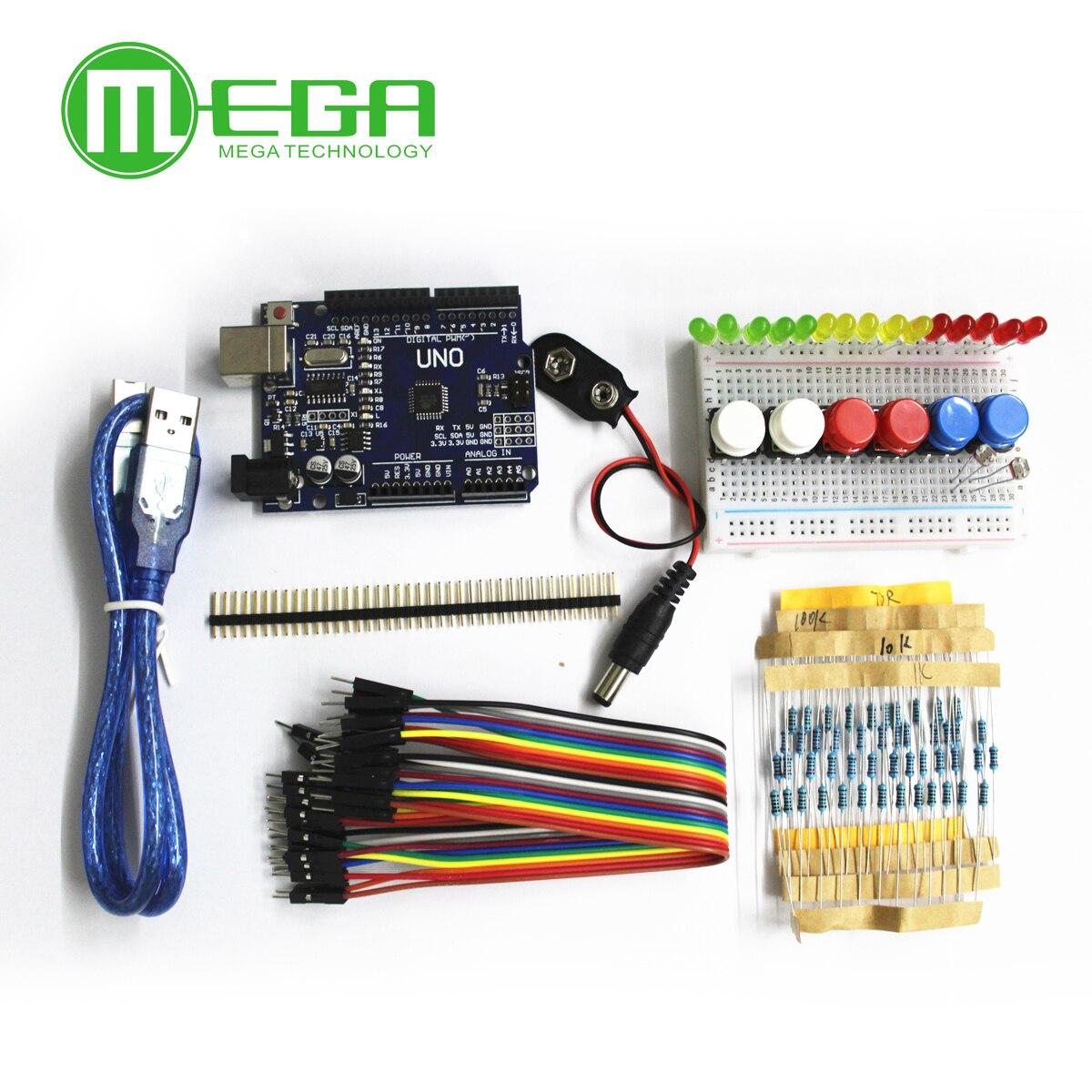 Новый стартовый набор UNO R3, мини-макетная плата, светодиодная перемычка, кнопка для Arduino
