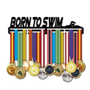 Image 2 - 生まれに水泳メダルハンガースポーツメダルホルダー水泳メダルハンガーディスプレイラック 46 センチメートル l 32 + メダル