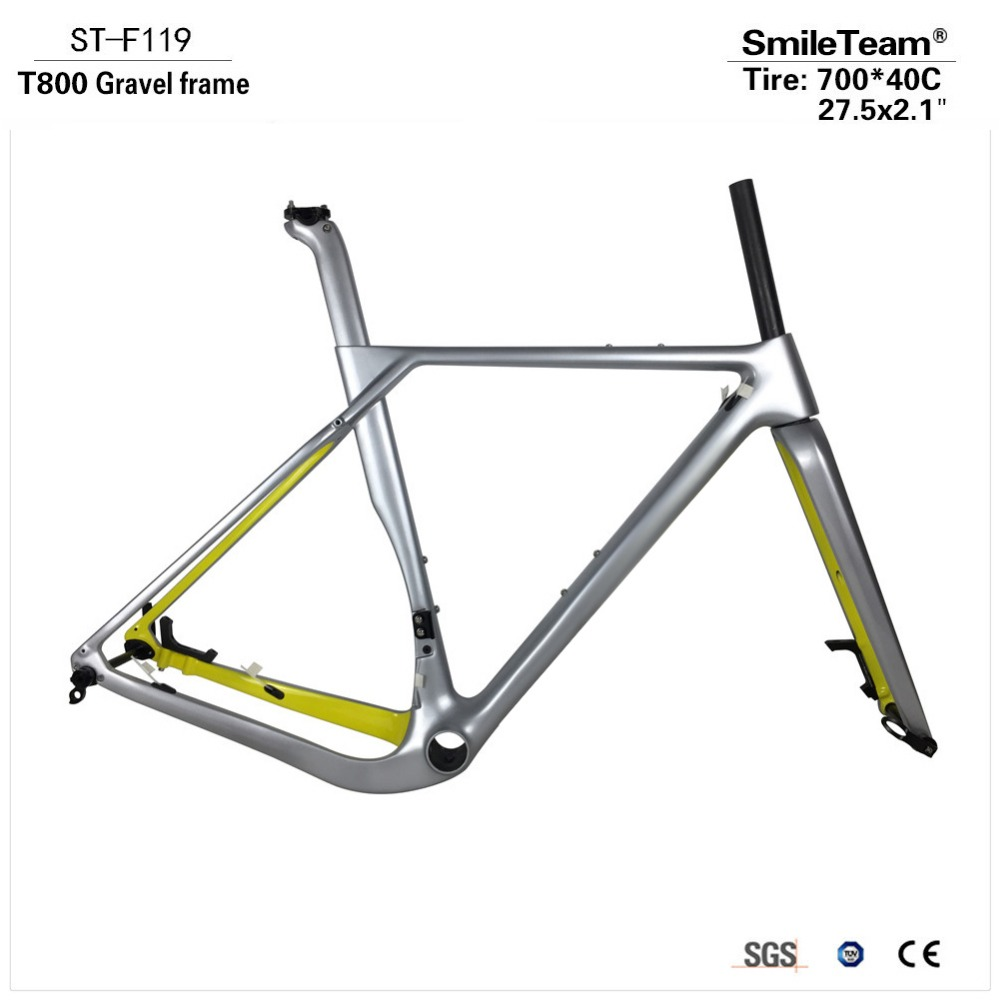 Smileteam 2018 New Modle Full Carbon Gravel Frame,Cyclocross Disc Frame With Brake Adapter Thru Axle 100/142mm Road Bike Frame  seraph 2018 carbon fiber cyclocross bike carbon cyclocross frame 142 12mm rear thru axle fm286 carbon frame 56 color paint