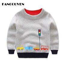 Хлопковые свитера для мальчиков, детская зимняя одежда с круглым вырезом, детская повседневная верхняя одежда с принтом машины