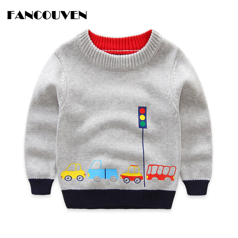 Boys Cotton Sweaters,Kids O-Neck Winter Clothes,Children Car Printed Casual Outerwear