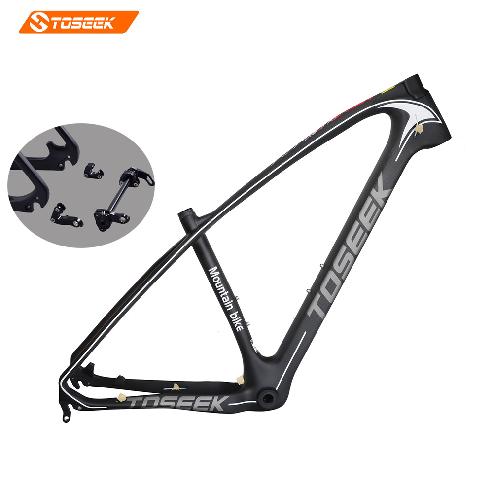 Toseek Carbon mtb frame 27.5/29 ER carbon fiber frame BB30/BSA carbon bicycle frame free headset 3K matte15/17/19 inch 1250g