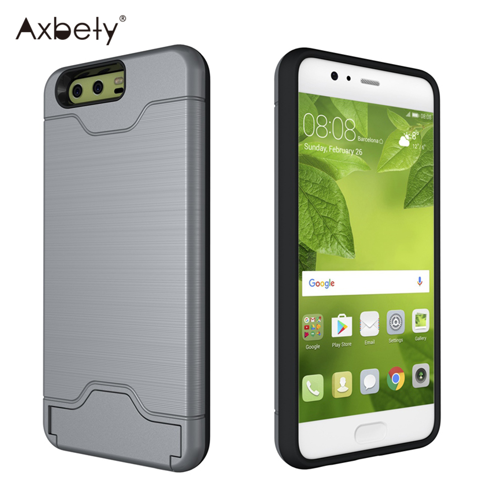 Axbety Hybrid Armor Case For Huawei P10 P 10 Case Heavy Duty Cash Card Holder Cover For Huawei P10 Plus Shockproof Phone Cases