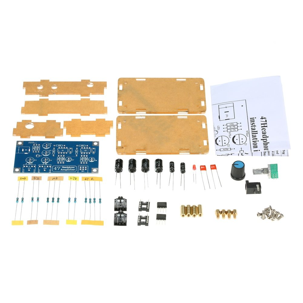 Headphone Amplifier DIY PCB AMP Kit 47 HIFI NE5532  With Transparent Case Single Power Supply DC12~18V