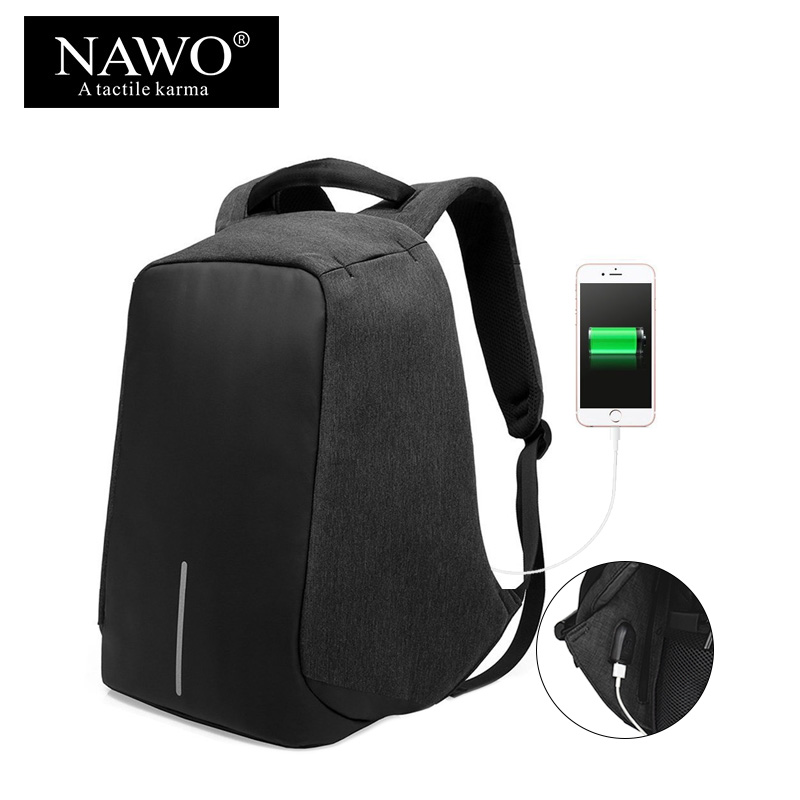 NAWO Multifunctional School Bags For Teenagers USB Charging 15inch Laptop Backpack Unisex Large Capacity Travel Bags Anti Thief olidik laptop backpack for men 14 15 6 inch notebook school bags for teenagers large capacity 30l women business travel backpack