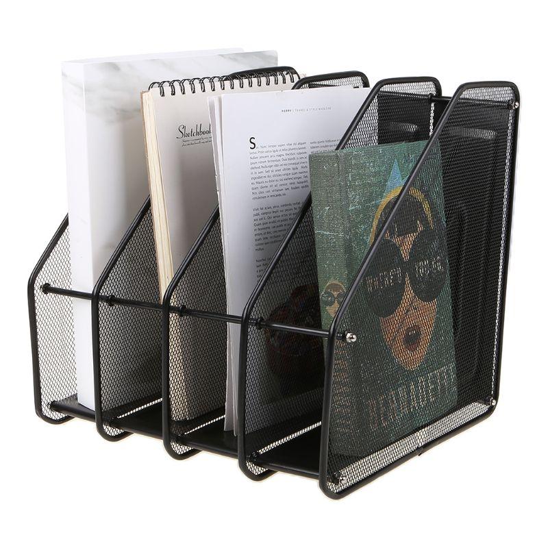 4 Column Metal Mesh File Holder Document Rack Letter Magazine Newspaper Tray for Desk Organizer Home Office Supplies