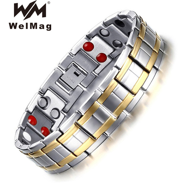 WelMag Mens Magnetic Bracelets Bangles Stainless Steel Gold Power Therapy Wristband Double Row Germanium Health Bracelet