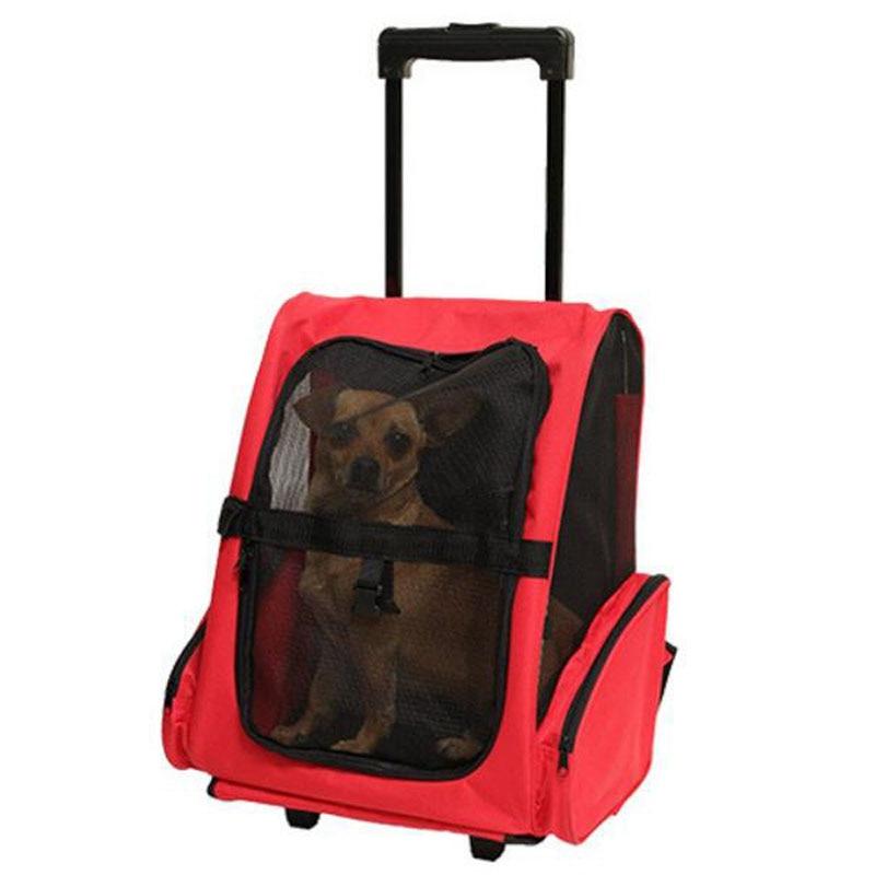 pet dog carrier trolley bag wheel luggage stroller backpack christmas gift for small cat dogs. Black Bedroom Furniture Sets. Home Design Ideas