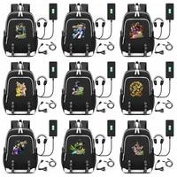 Jojo's Bizarre Adventure all Star Battle School Backpack USB Charge Interface Anime Unisex Black Shoulder Laptop Travel Bag