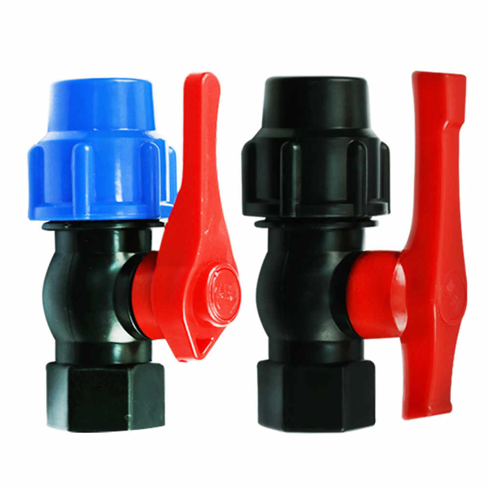 "Free Shipping 20/25/32/40/50mm-1/2"" 3/4"" 1"" 1-1/2"" Plastic Water Pipe Quick Valve Connector PE Tube Ball Valves Accessories"