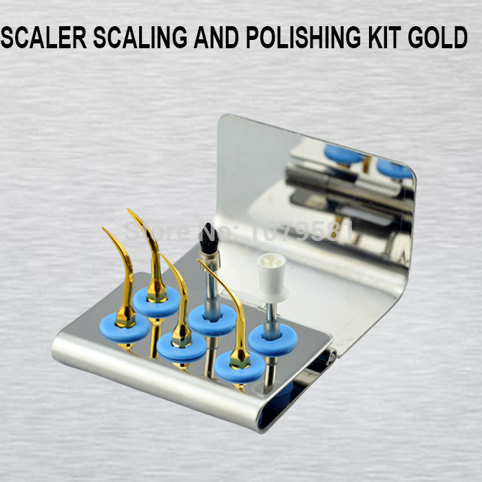 1 Set High Quality Dental Lab Equipment scaler scaling and polishing kit gold Surgical Dentist Knife Instruments Tool Kit dental kerr finishing polishing assorted kit occlubrush cup brushes 1set