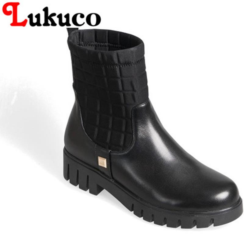 2017 Lukuco women mid-calf boots concise zipper cool design high quality genuine leather & Stretch Fabric shoe free shipping