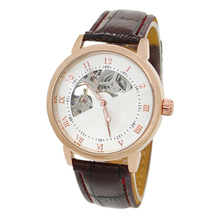 Men's Mechanical Hollow Dial Faux Leather Band Arabic Numerals Wrist Watch
