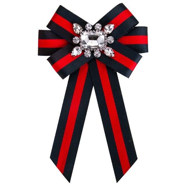 Новый лук кристалл Для женщин Броши Булавки Холст Ткань бантом галстук корсаж брошь для женская одежда платье аксессуары
