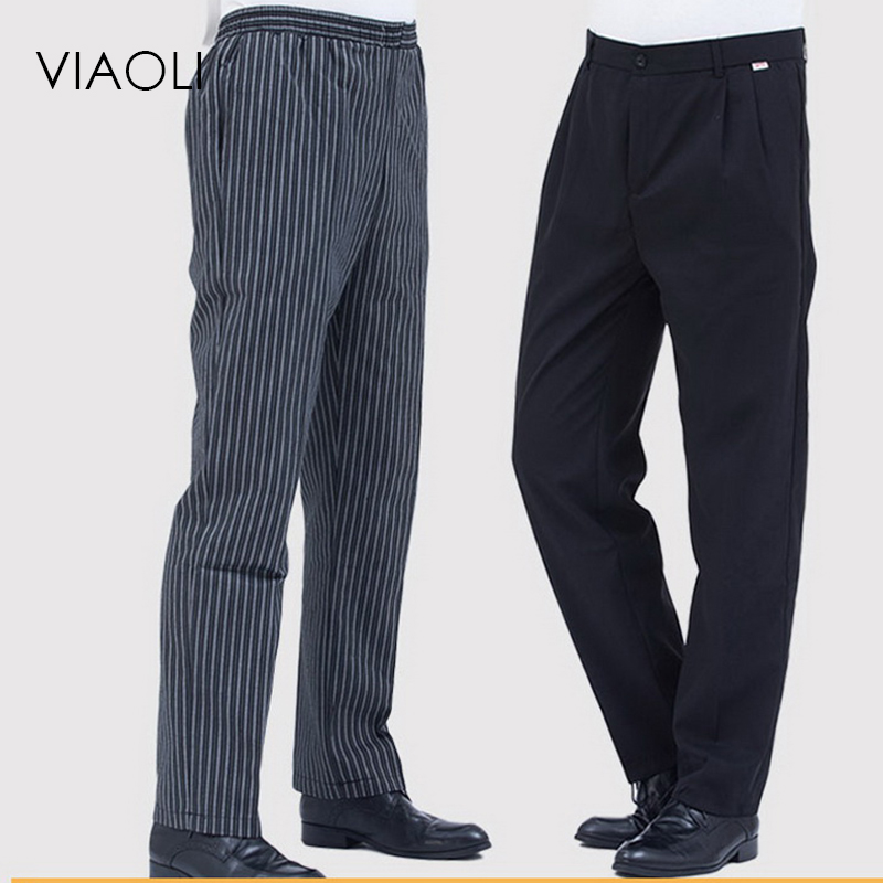 Restaurant Chef Uniform For Men Pants Kitchen Trouser Chef Uniforms For Women Pants Elastic Waist Bottoms Working Clothes M-2XL
