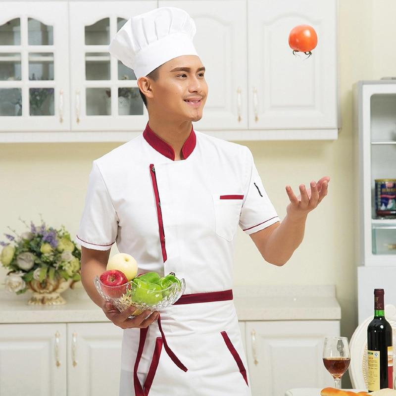 New Chef Wear Short Sleeved Summer Hotel Kitchen Uniform Female Western Chef Jacket Long Sleeve Plus Size Kitchen Wear B-6035