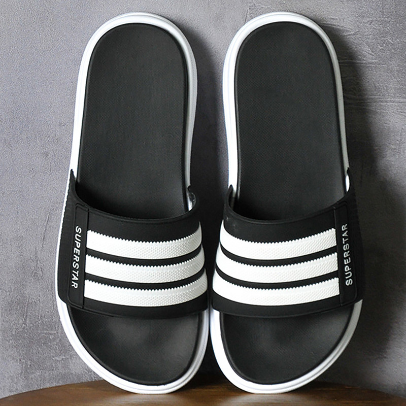 Black Slippers Men Summer PVC Sole Striped Beach Slipper Wear-resistant Casual Mans Footwear Indoor Non-slip Bathroom Slippers