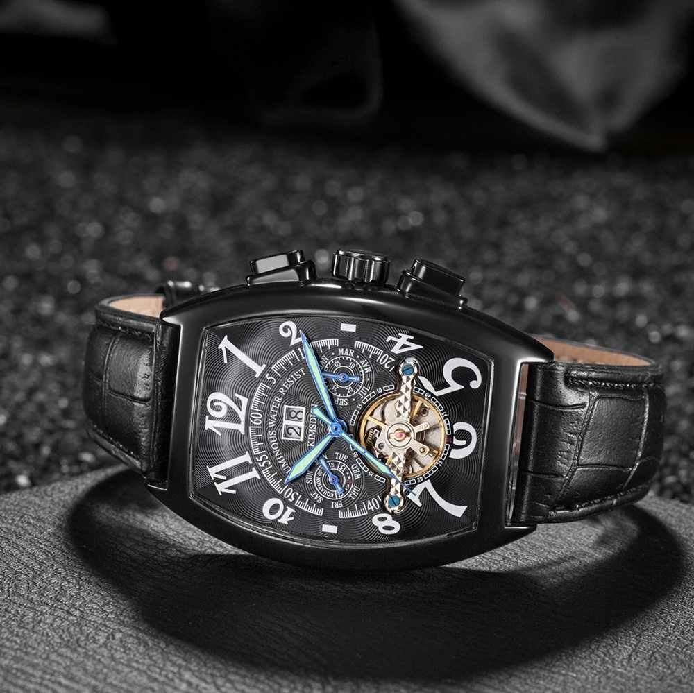 Reloj Mecánico Tonneau Tourbillon 2018 de lujo resistente al agua para hombre, reloj de pulsera automático para hombre