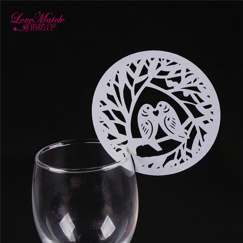 25pcs Laser Cut Cute Bird Wedding Supplies Name Place Card Holder