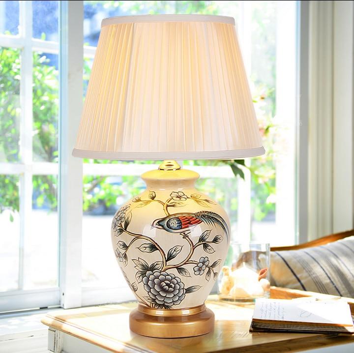Elegant Foyer Table Lamps : Aemrican rural white flower bird ceramic art table lamps