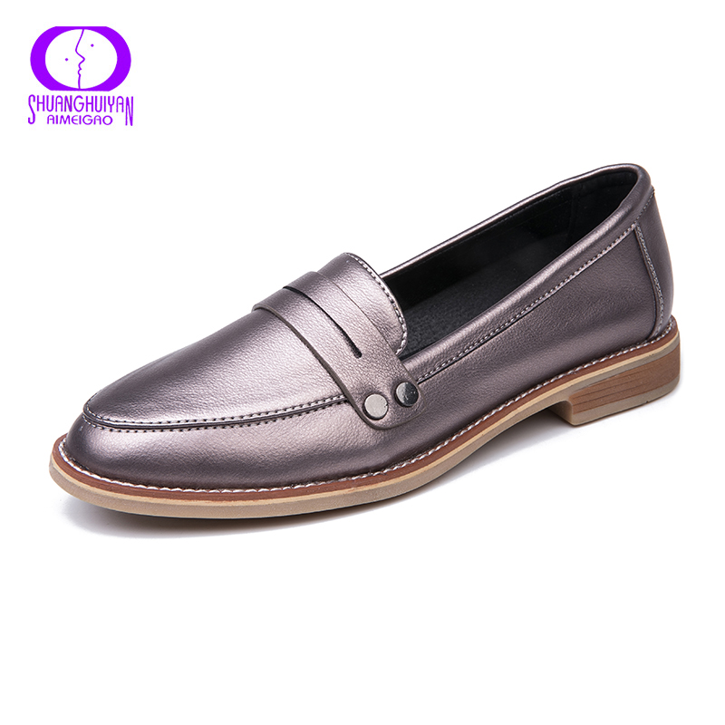 AIMEIGAO New Spring Autumn Casual Women Flats Shoes Slip On Moccasin Shoes Low Heels Comfortable Footwear For Women