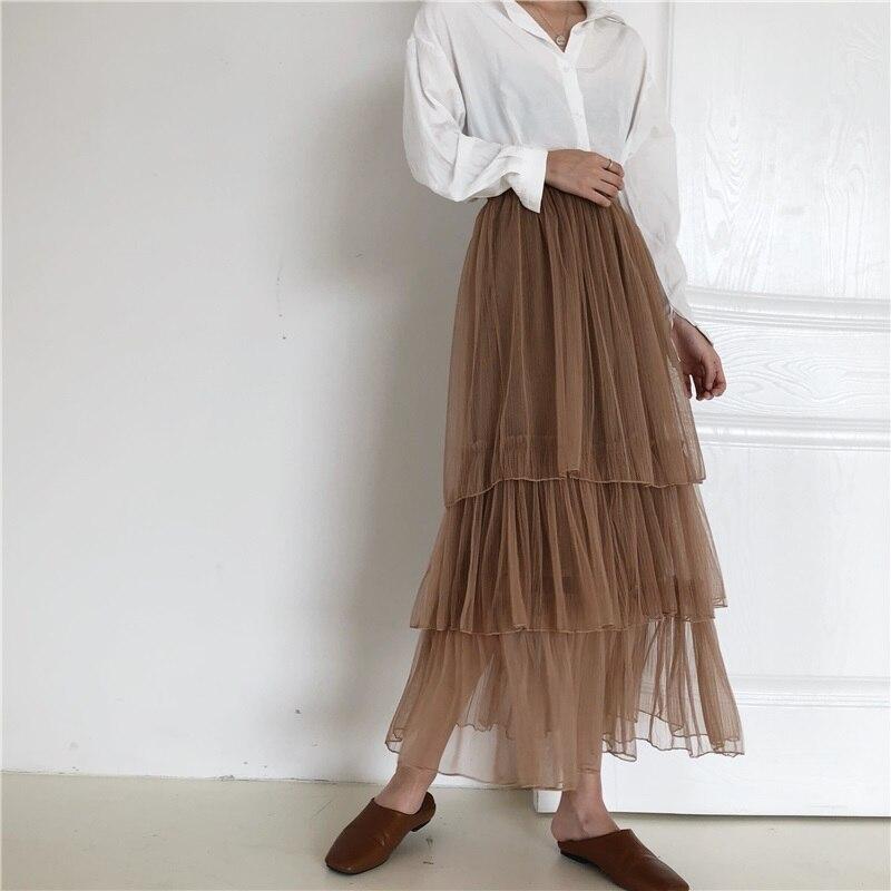 Quality 3 Layers 85cm Maxi Long Tulle Skirt Elegant Pleated Tutu Skirts Womens Vintage Lolita Petticoat faldas mujer Saias Jupe